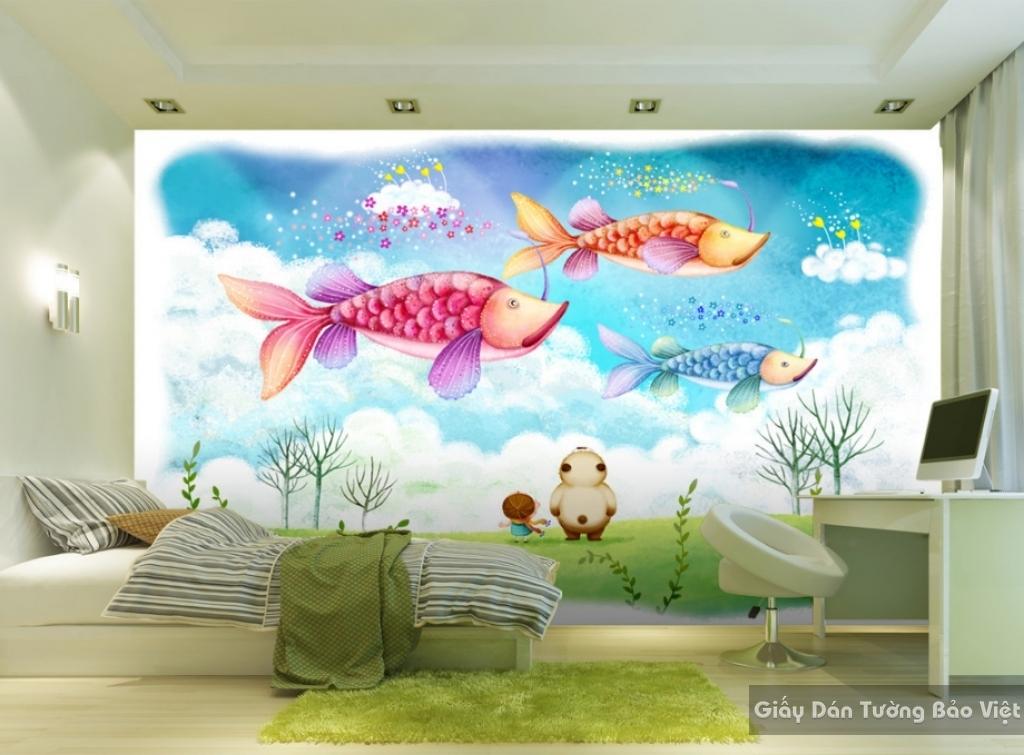 Giấy giấy dán tường phòng trẻ em 3D kid041