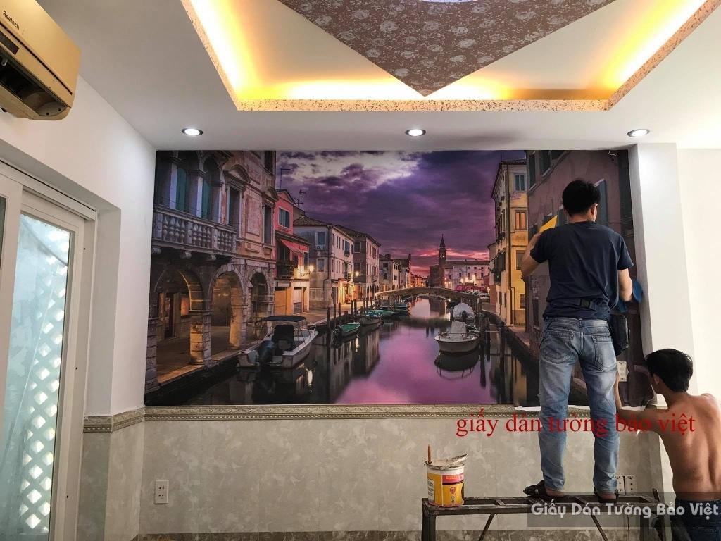 Thi công thực tế tranh dán tường Bảo Việt