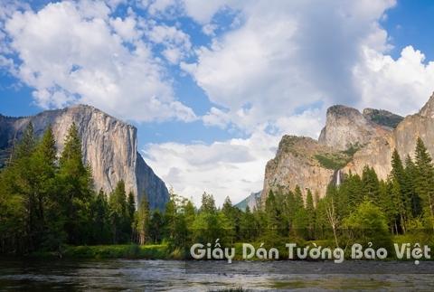 Tranh Giấy Dán Tường 3D Phong Cảnh Thiên Nhiên Sông Núi LK 1501-29