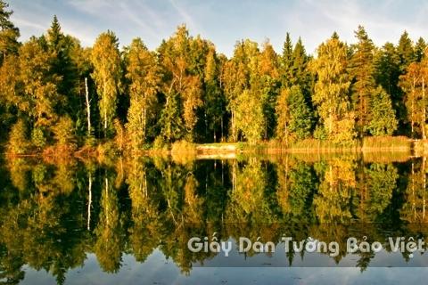 Tranh Giấy Dán Tường 3D Phong Cảnh Thiên Nhiên Sông Núi LK 1501-33