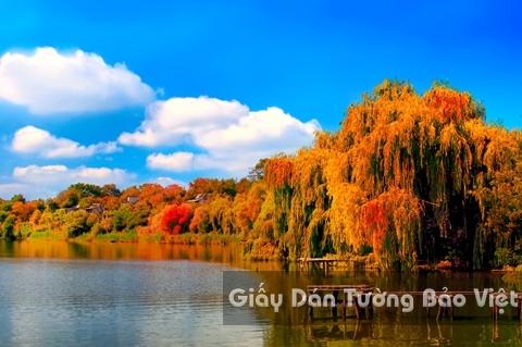 Tranh Giấy Dán Tường 3D Phong Cảnh Thiên Nhiên Sông Núi LK 1501-38