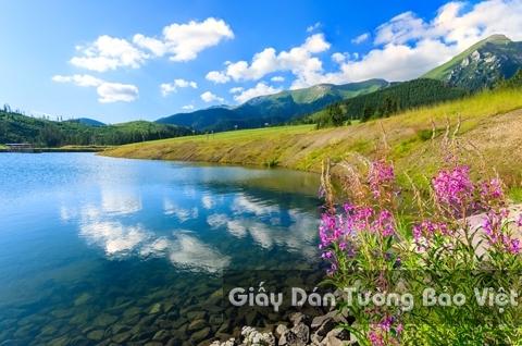 Tranh Giấy Dán Tường 3D Phong Cảnh Thiên Nhiên Sông Núi LK 1502-3
