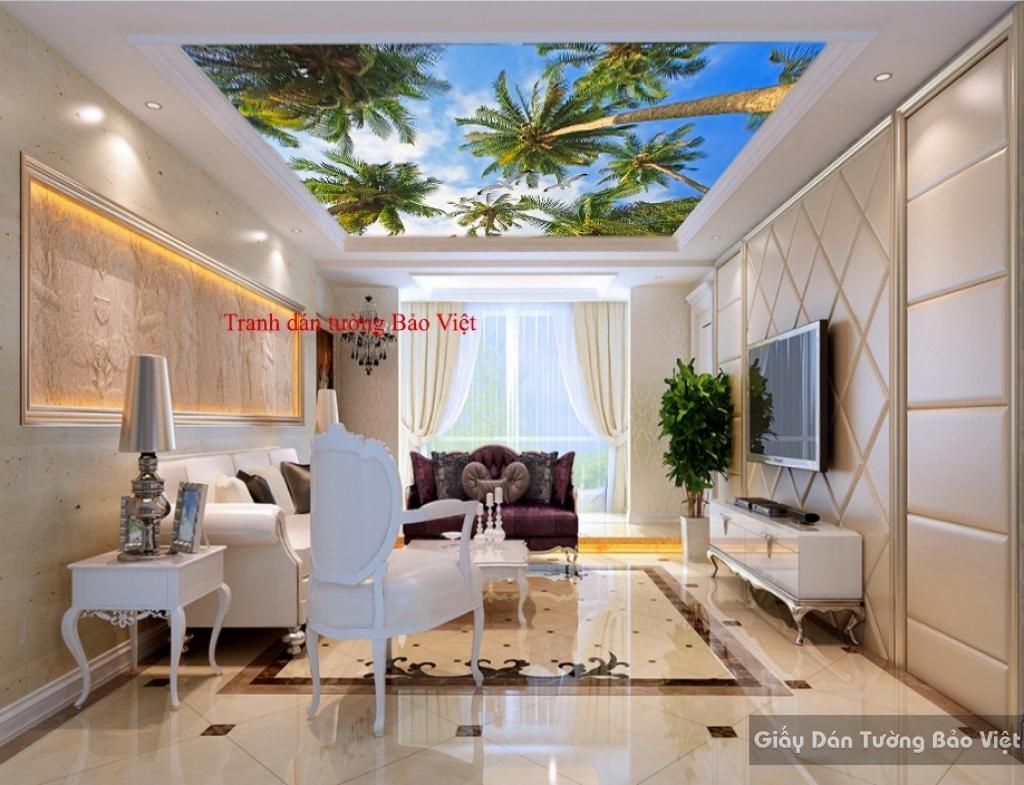 Tranh dán trần nhà cây dừa C071