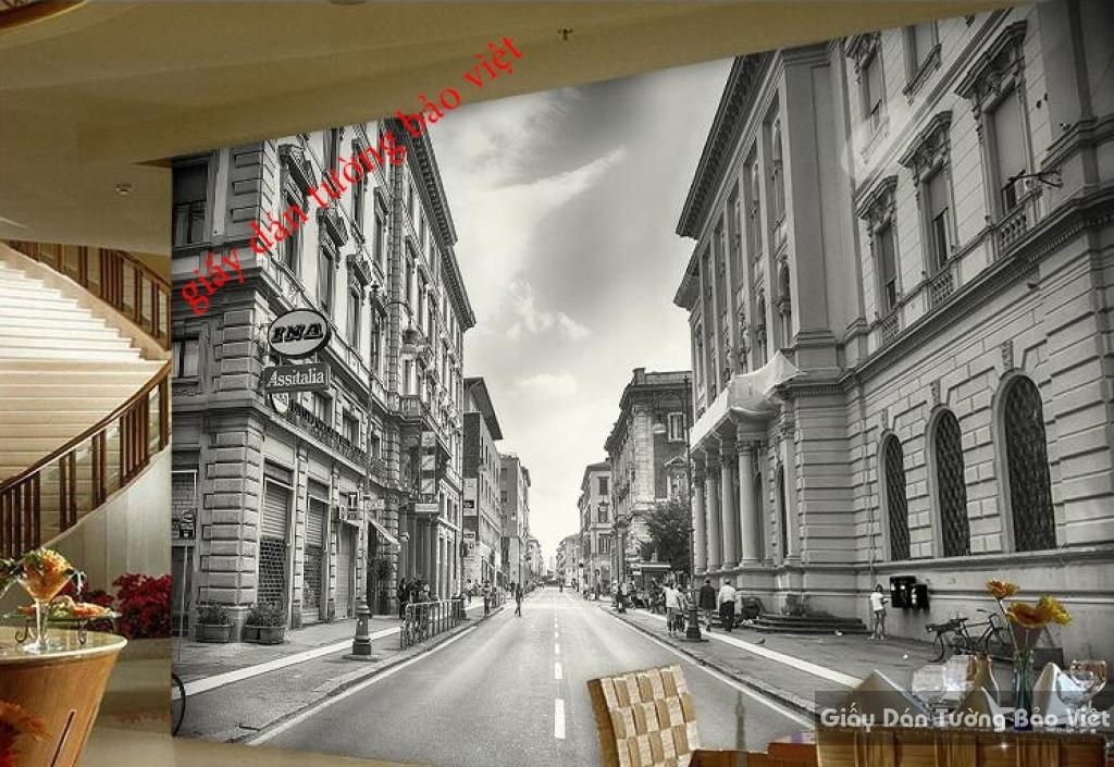 Tranh dán tường 3D cho quán cafe Fm086