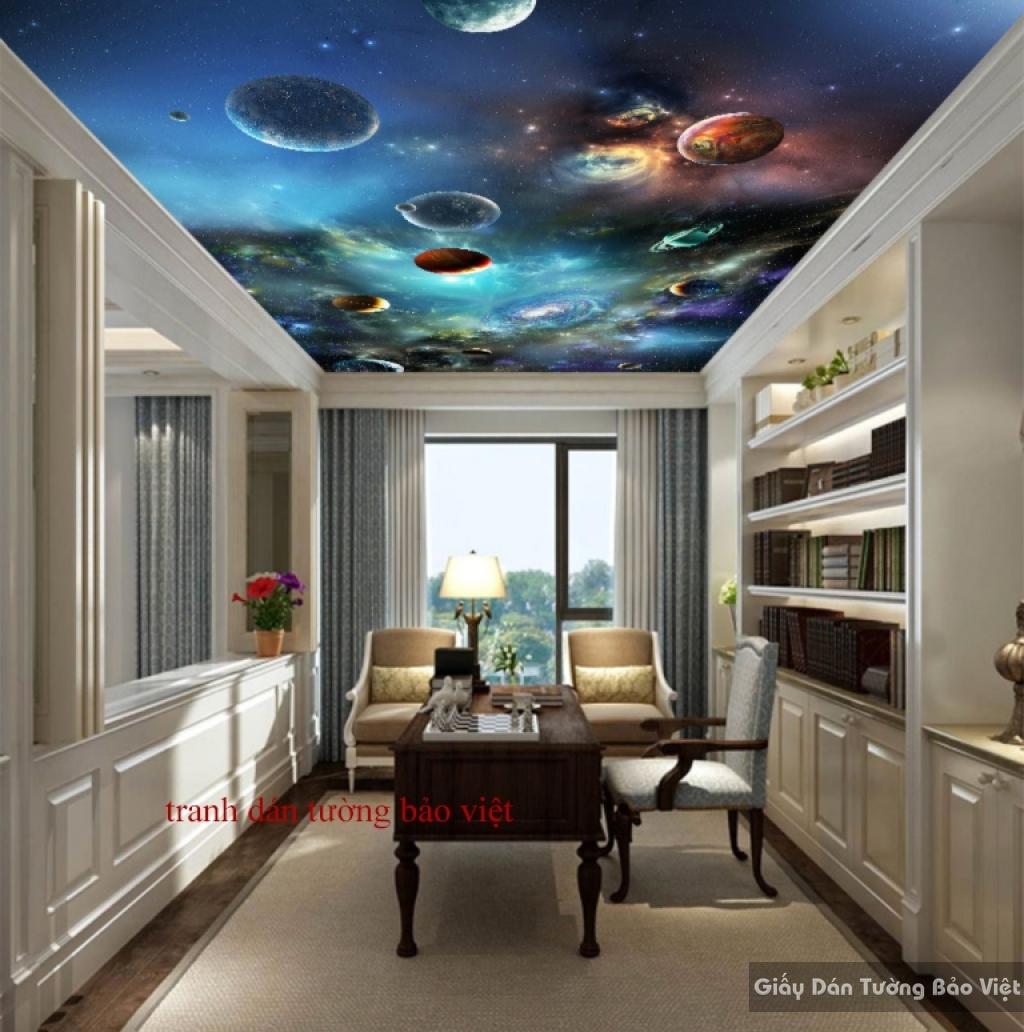 Tranh dán tường 3D galaxy dán trần nhà K15648040