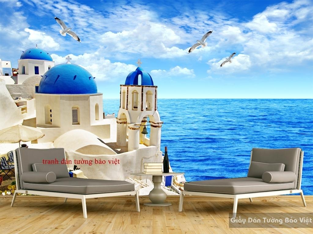 Tranh dán tường 3D phong cảnh biển S075