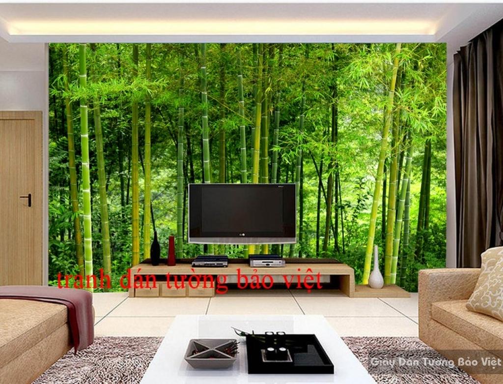 Tranh dán tường 3D rừng tre trúc Tr077
