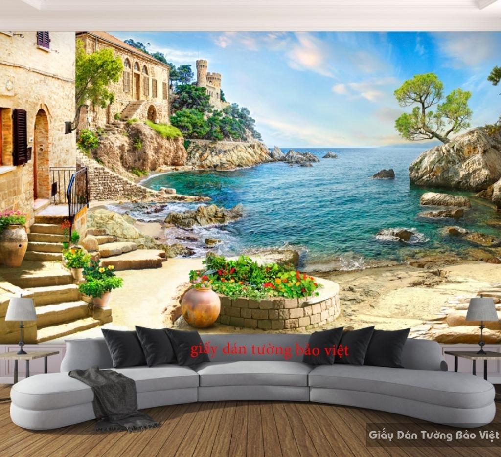 Tranh dán tường Phong Cảnh Bãi Biển 3D S065