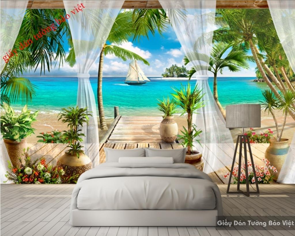 Tranh dán tường bãi biển 3D S064