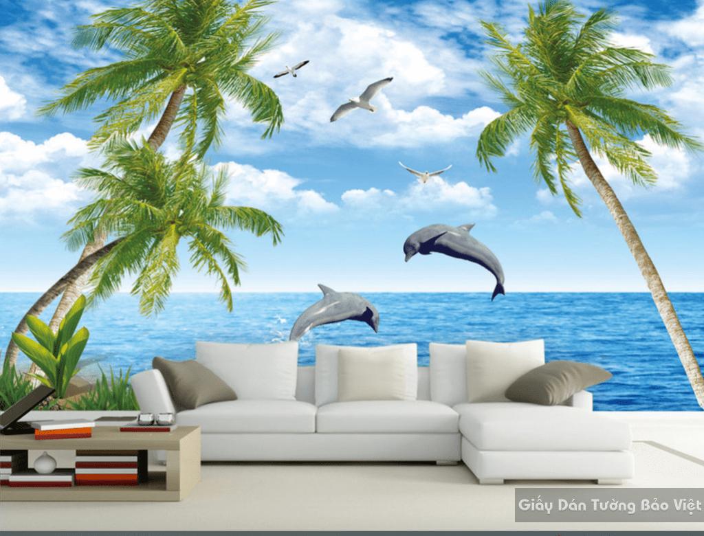 Tranh dán tường bãi biển 3d 12179410