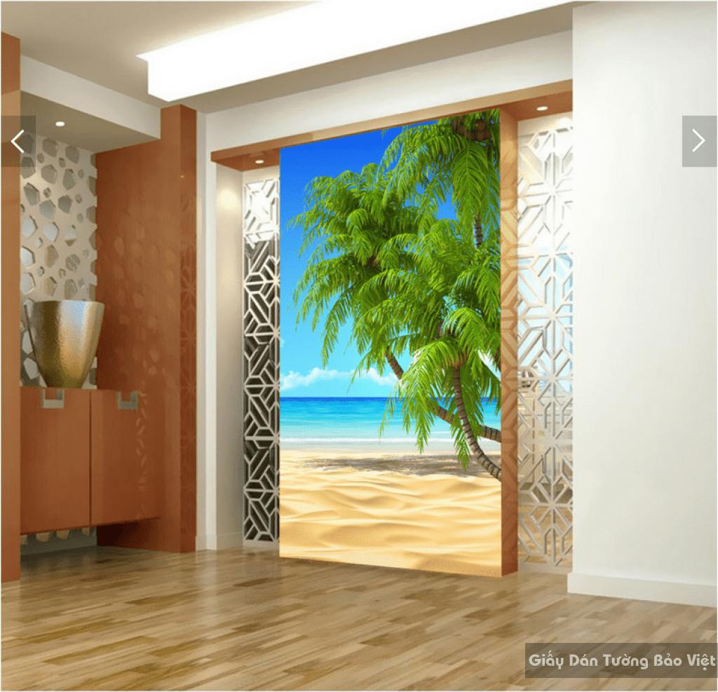 Tranh dán tường bãi biển 3d 12518753