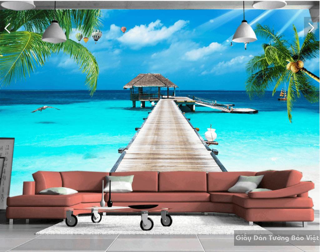 Tranh dán tường bãi biển 3d 13237857