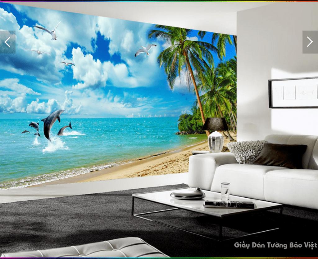 Tranh dán tường bãi biển 3d 15773300