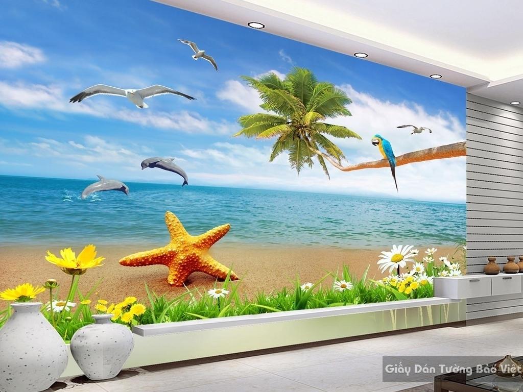 Tranh dán tường bãi biển 3d 15918940