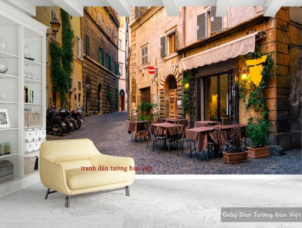 Tranh dán tường cho quán cafe Fm160