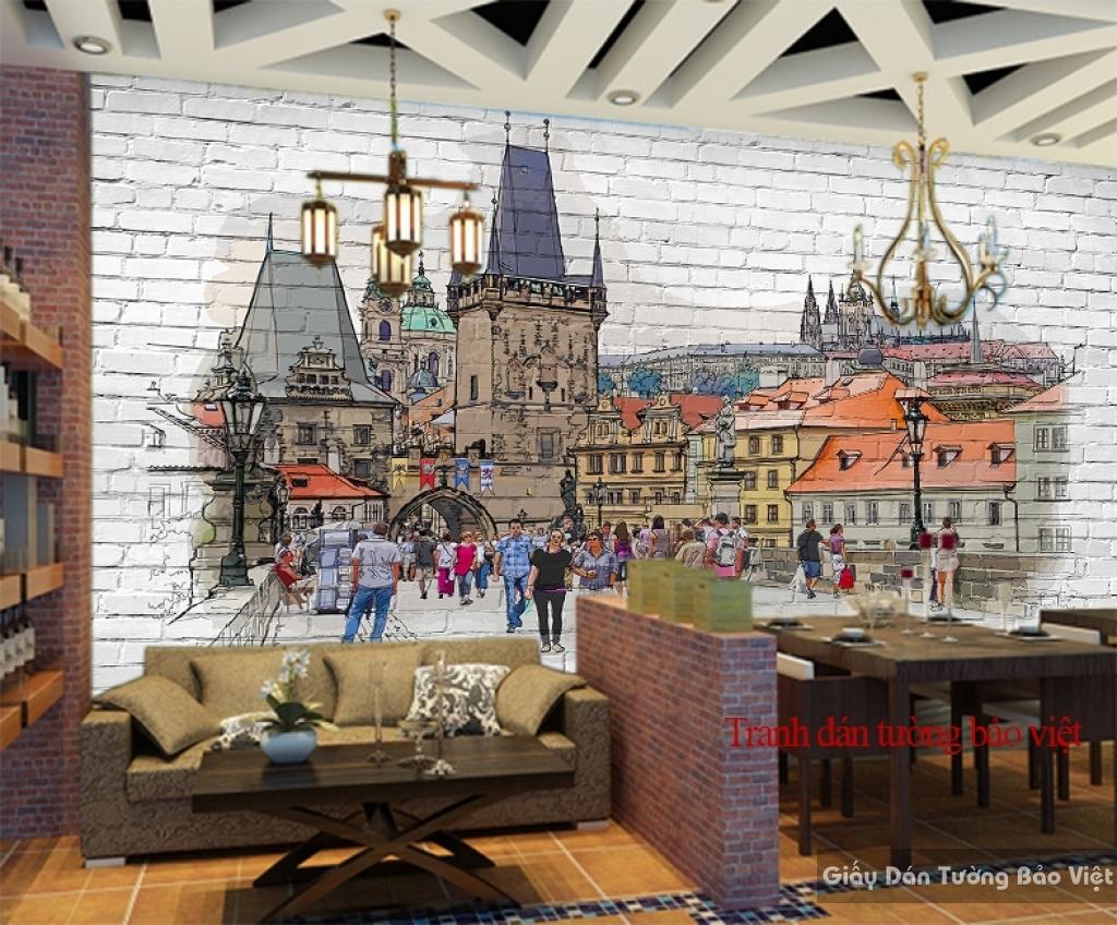 Tranh dán tường cho quán cafe Fm186