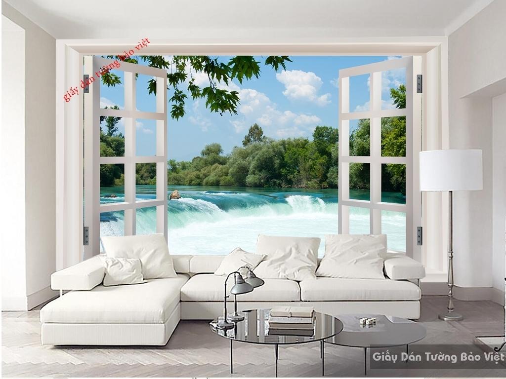 Tranh dán tường cửa sổ 3D w046