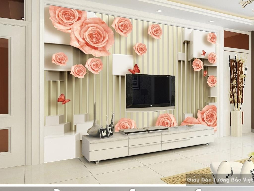 Tranh dán tường hoa 3d 15866212