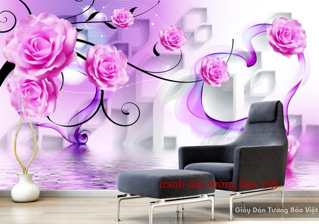 Tranh dán tường màu tím 3D-027