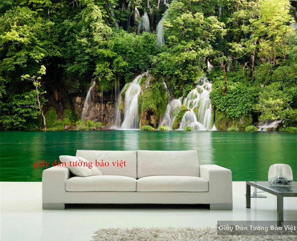 Tranh dán tường phong cảnh 3D thác nước W047