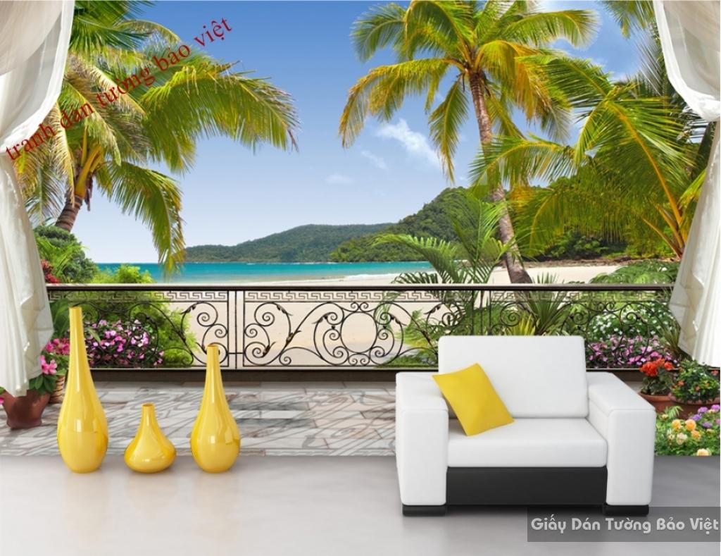Tranh dán tường phong cảnh biển 3D S070