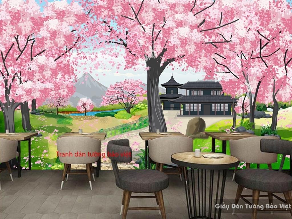 Tranh dán tường quán cafe trà sữa Art002