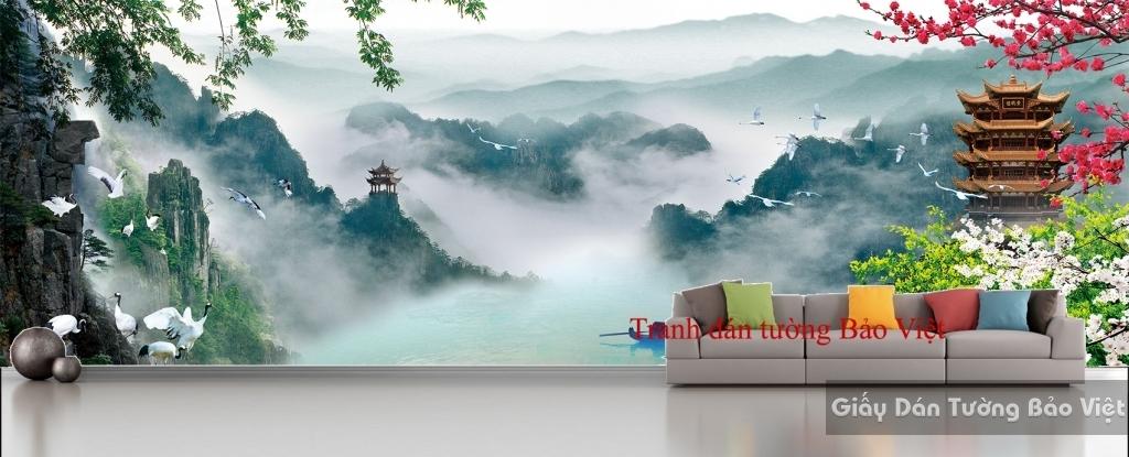 Tranh dán tường sơn thủy hữu tình 3D FT056