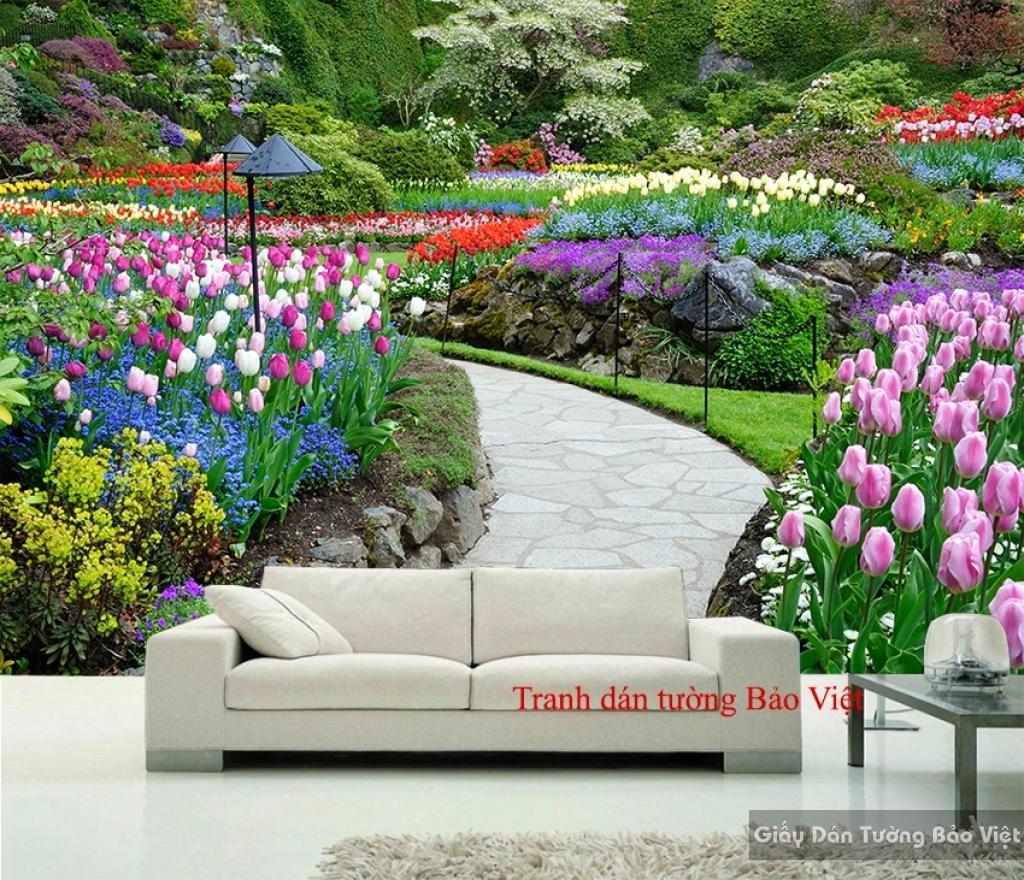 Tranh dán tường vườn hoa đẹp H120