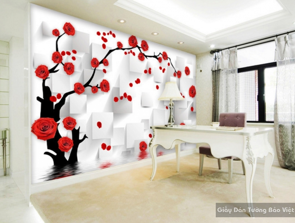 Tranh giấy dán tường hoa 3D FL001