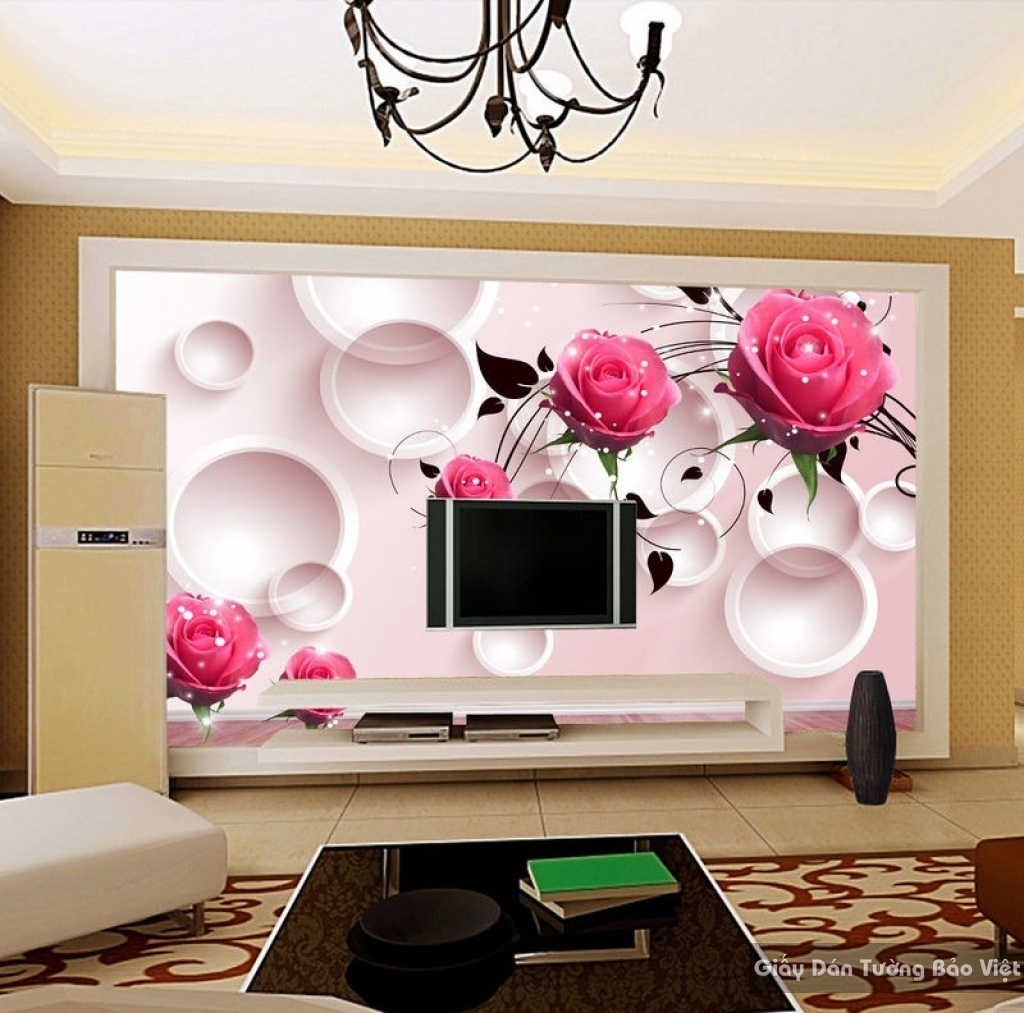 Tranh giấy dán tường hoa 3D FL005