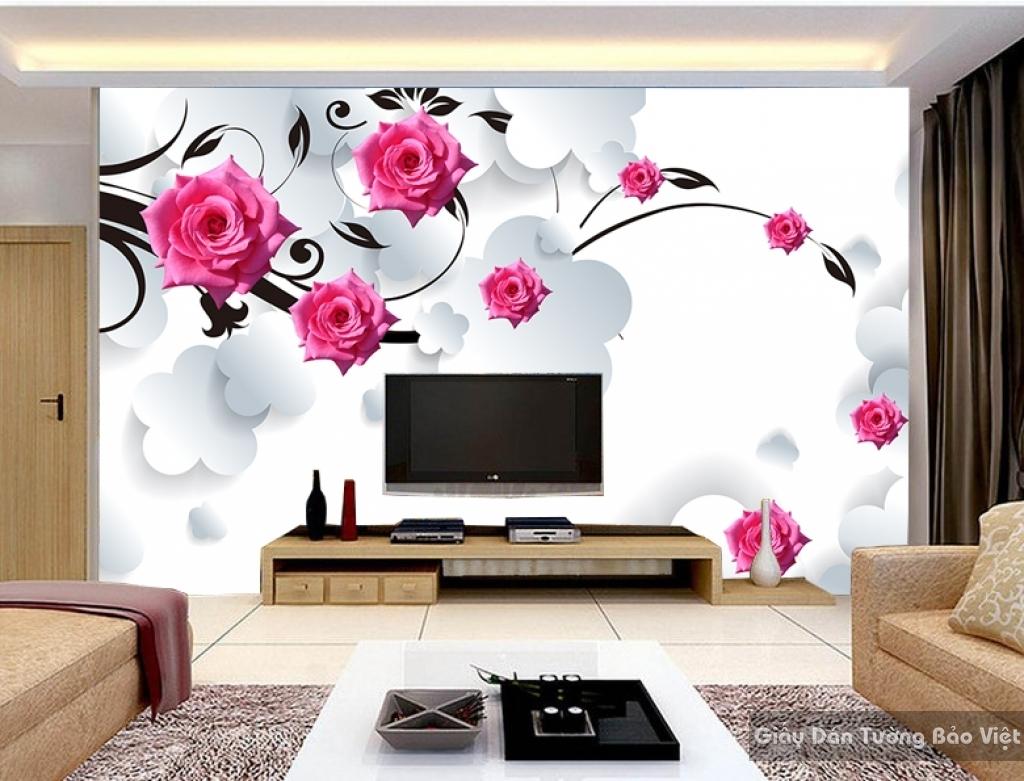 Tranh giấy dán tường hoa 3D FL006