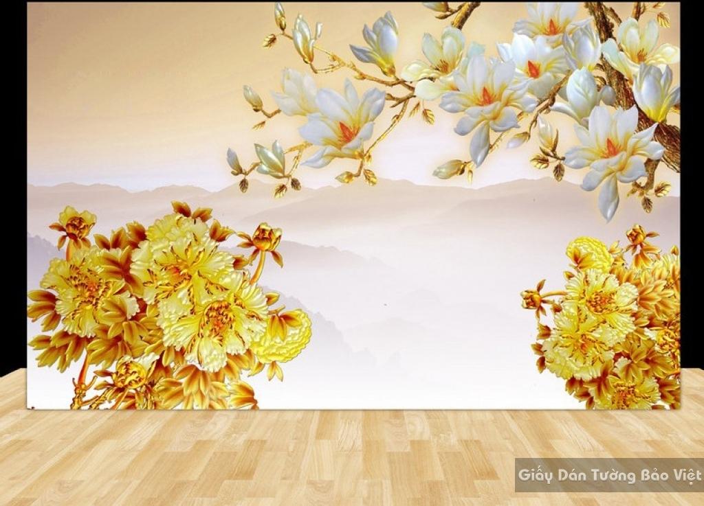 Tranh giấy dán tường hoa 3D FL016