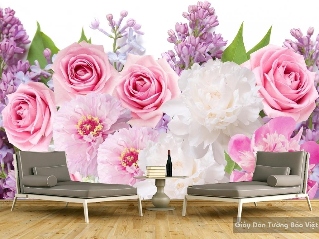 Tranh giấy dán tường hoa 3D H036