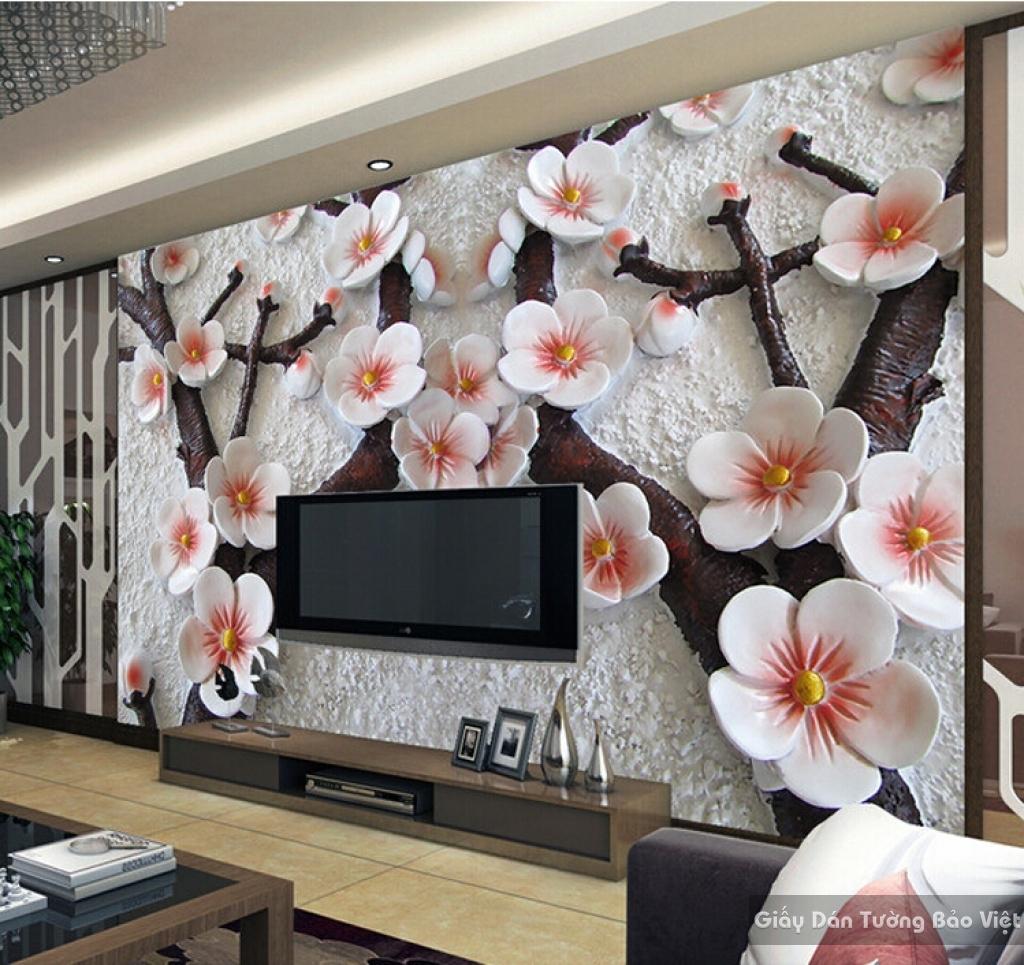Tranh giấy dán tường hoa 3D H052