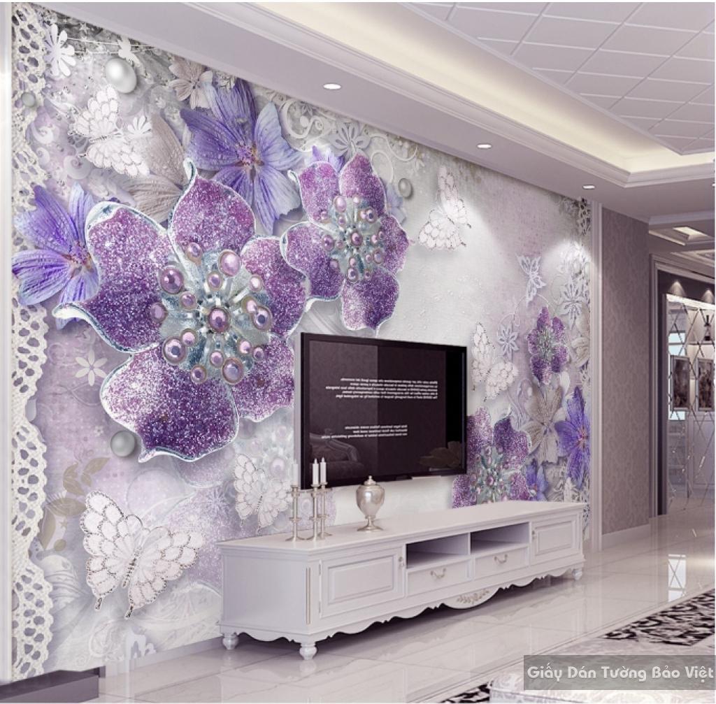Tranh giấy dán tường hoa 3D K15525489