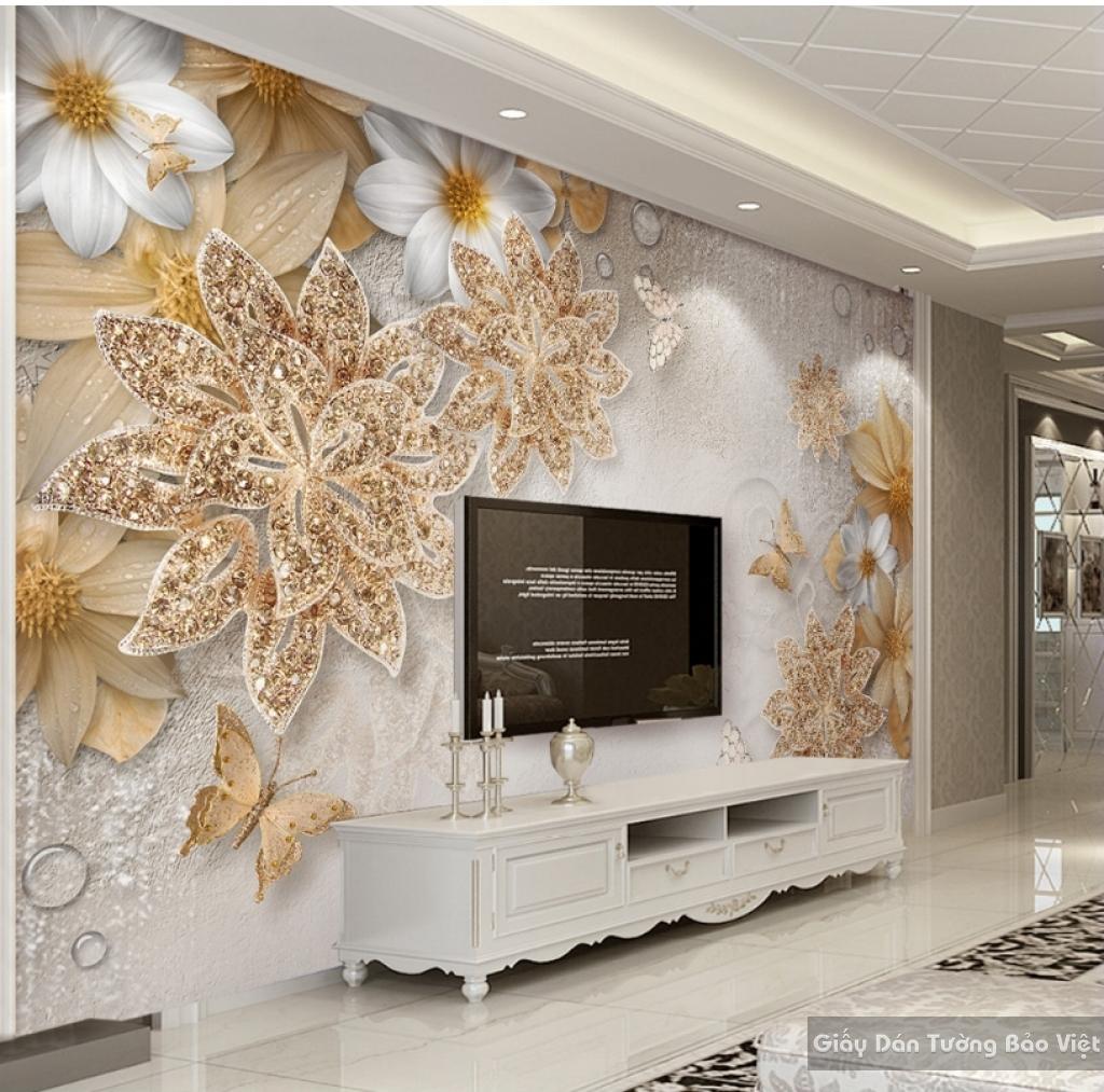 Tranh giấy dán tường hoa 3D K15525498