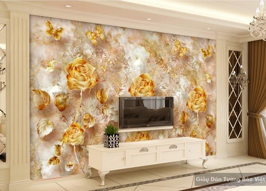 Tranh giấy dán tường hoa 3D K15673619