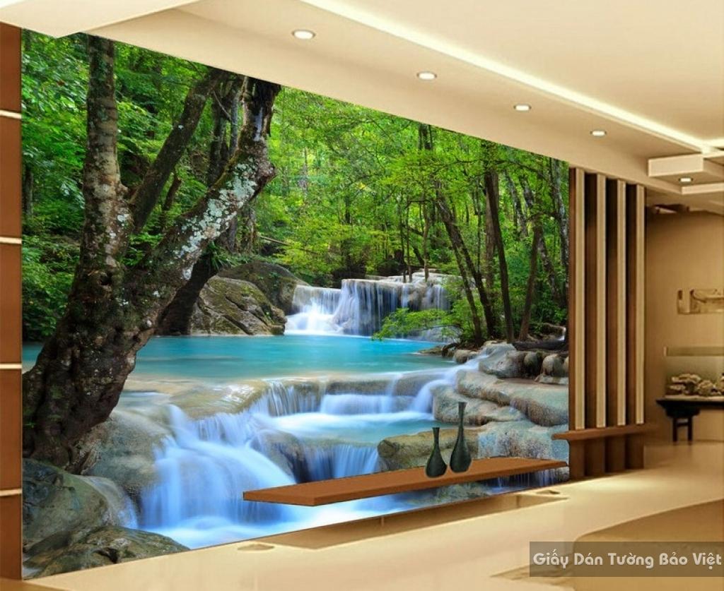 Tranh giấy dán tường thác nước 3D W003
