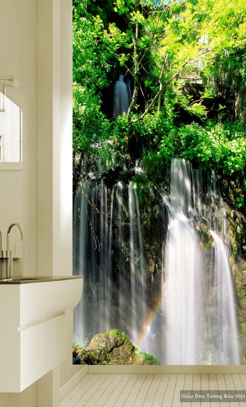Tranh giấy dán tường thác nước 3D W016